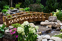 Landscaped garden with bridge